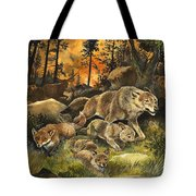 Animals United In Terror As They Flee From A Forest Fire Tote Bag