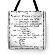 Anne Bradstreet Title-page Tote Bag