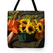 Antique Buggy And Sunflowers Tote Bag