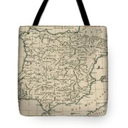 Antique Map Of Spain Tote Bag