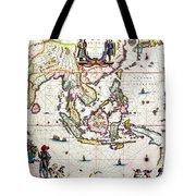 Antique Map Showing Southeast Asia And The East Indies Tote Bag by Willem Blaeu