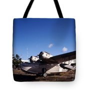 Antique Navy Seaplane Parked In Front Tote Bag by Michael Wood