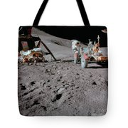 Apollo 15 Astronaut Works At The Lunar Tote Bag