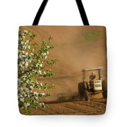 Apple Blossoms And Farmer On Tractor Tote Bag