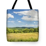 Apple Trees And Hay Field In Summer Maine Tote Bag