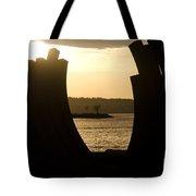Arcs Sunset Bernar Venet Sculpture Sunset Beach Park Vancouver Bc Canada Tote Bag