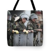 Argentine Marines Dressed In Riot Gear Tote Bag by Stocktrek Images