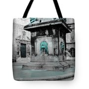 Arles Fountain With A Spot Of Color Tote Bag