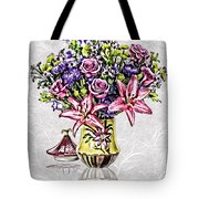 Arrangement In Pink And Purple On Rice Paper Tote Bag