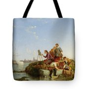 Artist At His Easel And Shipping Beyond Tote Bag