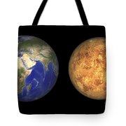 Artists Concept Showing Earth And Venus Tote Bag by Walter Myers