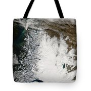 Ash Plume From Chaiten Volcano And Snow Tote Bag