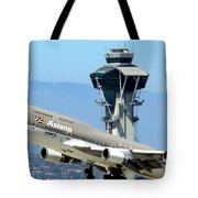 Asiana 747-400 And Lax Tower Tote Bag