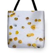 Aspen Leaves In The Snow Tote Bag
