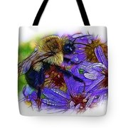 Asters With Dew And Bumblebee Tote Bag