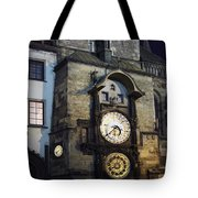 Astronomical Clock At Night Tote Bag