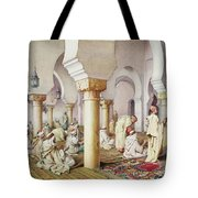 At Prayer In The Mosque Tote Bag