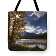 Athabasca River With Mount Fryatt Tote Bag
