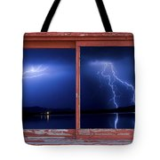 August Storm Red Barn Picture Window Frame Photo Art View Tote Bag