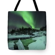 Aurora Borealis Over A Frozen Tennevik Tote Bag