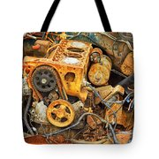 Auto Engine Block From A Wrecked Car Tote Bag