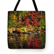 Autumn Forest And River Landscape Tote Bag