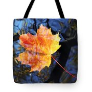 Autumn Leaf On The Water Level Tote Bag