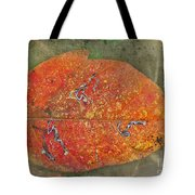 Autumn Leaf With Silver Trails Tote Bag