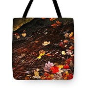 Autumn Leaves In River Tote Bag