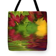 Autumn Leaves In Water With Reflection Tote Bag