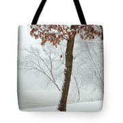Autumn Leaves In Winter Snow Storm Tote Bag