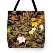 Autumn Leaves On Straw On Water Tote Bag