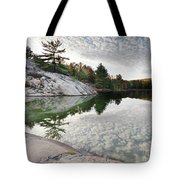 Autumn Nature Lake Rocks And Trees Tote Bag