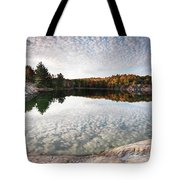 Autumn Nature Lake Rocks And Trees Panorama Tote Bag