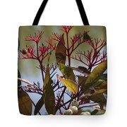 Autumn Snow Berry Bush Tote Bag