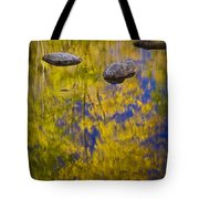 Autumn Tree Reflections With Rocks On The Muskegon River Tote Bag
