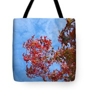 Autumn Trees Art Prints Blue Sky White Clouds Tote Bag