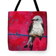 Baby Bird On A Wire Tote Bag by Patricia Awapara
