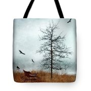 Baby Buggy By Tree With Nest And Birds Tote Bag by Jill Battaglia