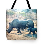 Baby Rhinoceros And Mother Tote Bag