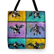 Baby Sea Turtles Six Tote Bag