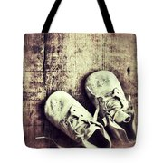 Baby Shoes On Wood Tote Bag