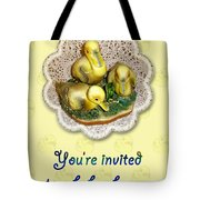 Baby Shower Invitation - Yellow Ducklings Figurine Tote Bag