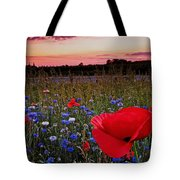 Bachelor Buttons And Poppies Tote Bag