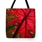 Backlit Red Leaf Tote Bag
