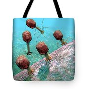 Bacteriophage T4 Virus Group 1 Tote Bag by Russell Kightley