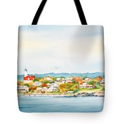 Bakers Island Lighthouse In Autumn Watercolor Painting Tote Bag
