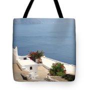 Balcony Oia Santorini Greek Islands Tote Bag