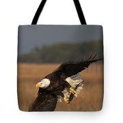 Bald Eagle Catches Fish Tote Bag