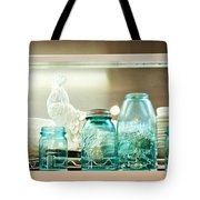 Ball Jars And White Rooster Tote Bag